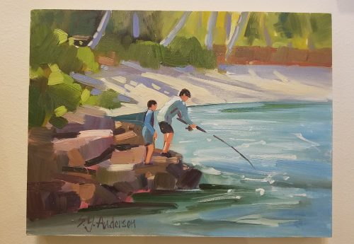 """Fishing Pals by Susie Anderson 9"""" x 12"""""""