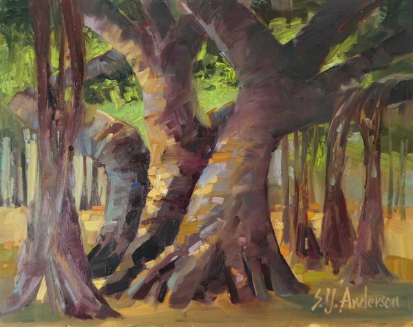 """Banyan Hula oil on cradled panel by Susie Anderson 12"""" x 12"""""""