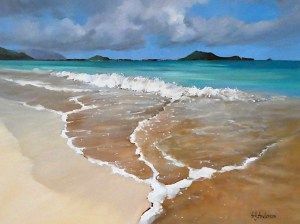 "Suds On Sand original oil on canvas by Susie Anderson 24"" x 32"""