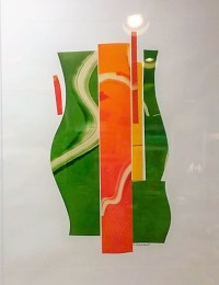 Curves Ahead monotype collage by Linda Spadaro