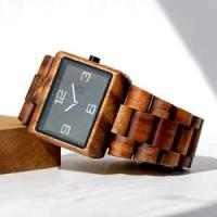 Square minimalist solid Koa watch