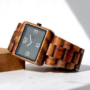 Square minimalist solid Koa watch