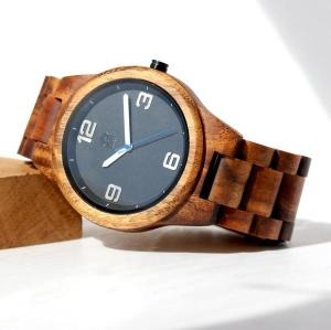 Round minimalist solid koa watch