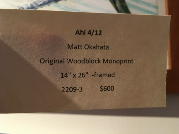 Matt Okukahata, original woodblock monoprint 14 x 25 framed