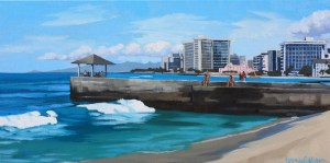 The Kapahulu Groin, painting by Brenda Cablayan 12 x 24