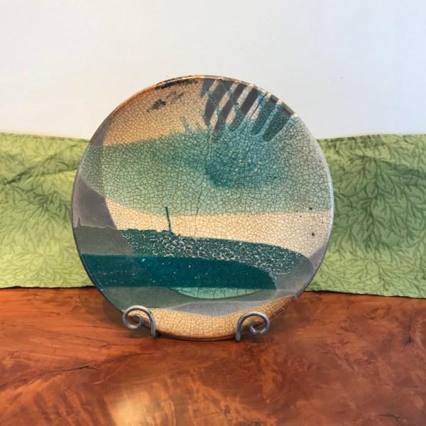 Jeff Chang Raku Wall Platter 14.5 Diameter