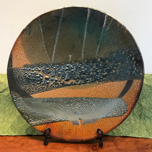 Jeff Chang Raku Wall Platter 19 Diameter(2)