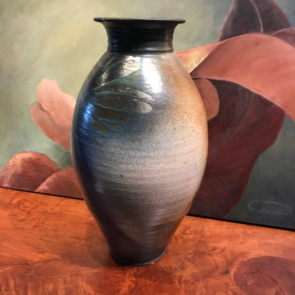 "Jeff Chang Raku Vase 20""Hx11""D"