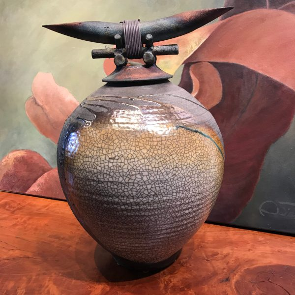 "Jeff Chang Raku Warrior Pot 17""Hx12.5""Wx12""D"
