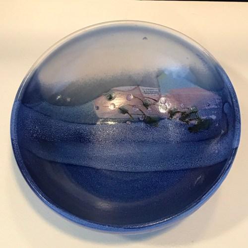 "Jeff Chang Turquoise Stoneware Bowl 3""Hx8""D (representative)"