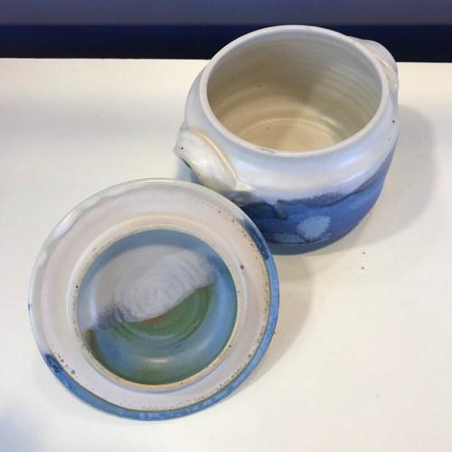 "Jeff Chang Turquoise Stoneware Salt Jar 5""Hx6""Wx5""D (representative)"