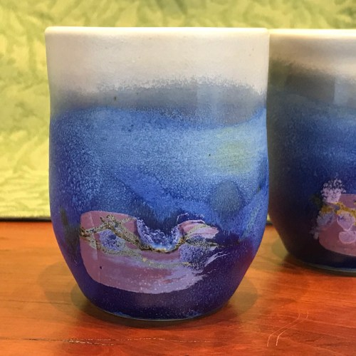 Jeff Chang Turquoise Stoneware Teacup 3.5 x 2.75
