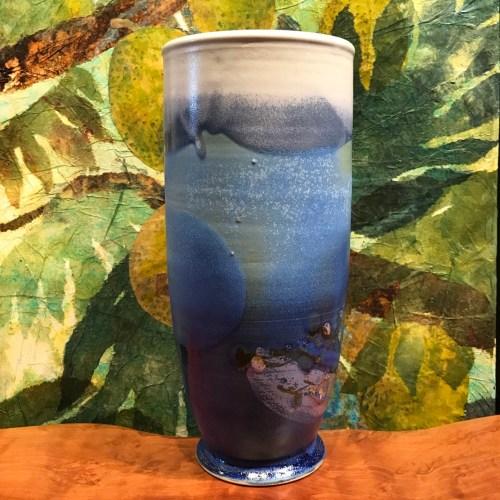 "Jeff Chang Turquoise Stoneware Vase 11.5""Hx4.5""D (representative)"