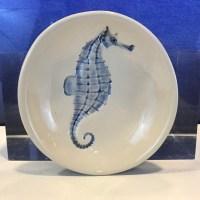 "Lorna Newlin Ceramic Blue Seahorse Bowl 5"" Diameter"
