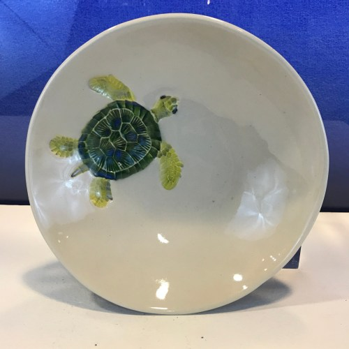 "Lorna Newlin Ceramic Honu Bowl 7"" Diameter"