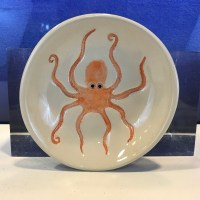 "Lorna Newlin Ceramic Orange Octopus Bowl 5"" Diameter"