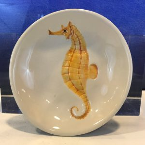 "Lorna Newlin Ceramic Orange Seahorse Bowl 5"" Diameter"