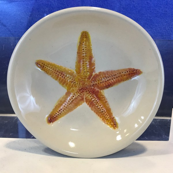 "Lorna Newlin Ceramic Orange Starfish Bowl 5"" Diameter"