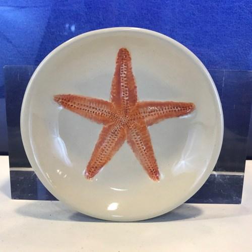 """Lorna Newlin Ceramic Pink Starfish Bowl 5"""" Diameter"""