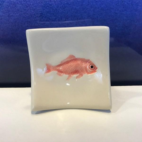"Lorna Newlin Ceramic Red Fish Dish 2.5""x2.5"" (representative)"