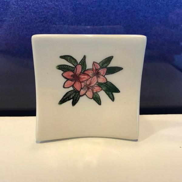 """Lorna Newlin Pink Plumeria Dish 2.5""""x2.5"""" (representative)"""