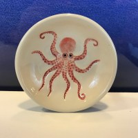 "Lorna Newlin Red Octopus Dish 4"" Diameter (representative)"