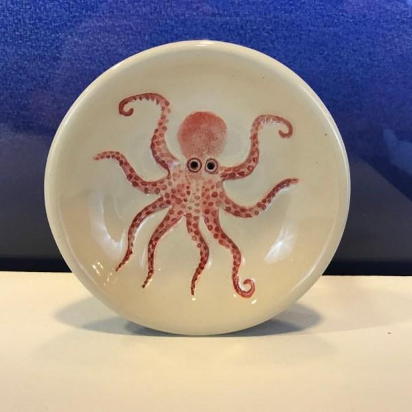 """Lorna Newlin Red Octopus Dish 4"""" Diameter (representative)"""