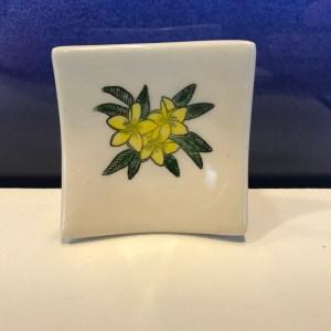 "Lorna Newlin Yellow Plumeria Dish 2.5""x2.5"" (representative)"