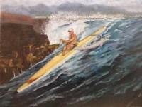 "Burton Uhr 'Man on Outrigger Canoe' Oil Painting 16""x 20"""
