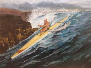 "Burton Uhr 'Man on Outrigger Canoe' Oil Painting 16""x 20"""