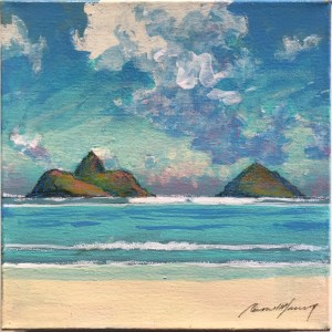 "Russell Lowrey Lanikai Original Acrylic Painting on Canvas 8""x8"""