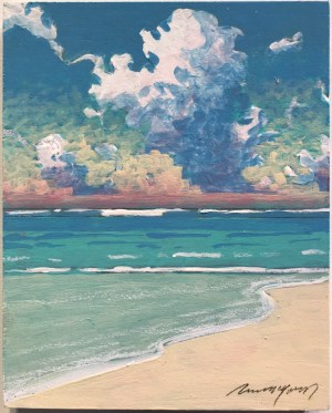 "Russell Lowrey Seascape Original Acrylic Painting on Wood Panel 10""x8"""