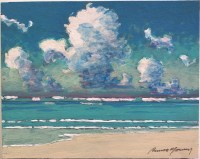 "Russell Lowrey Seascape Original Acrylic Painting on Wood Panel 8""x10"""