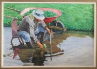 Tending the Watercress Oil Painting 28x 38 by Burton Uhr