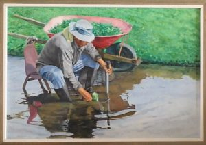 "Burton Uhr 'Tending the Watercrest' Oil Painting 28""x 38"""