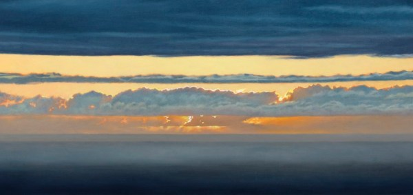 Gregory Pai 'Sunset at Holu'aloa'; Giclee on Canvas, framed; 7.75x18.75 image; 14.25x25.25 framed