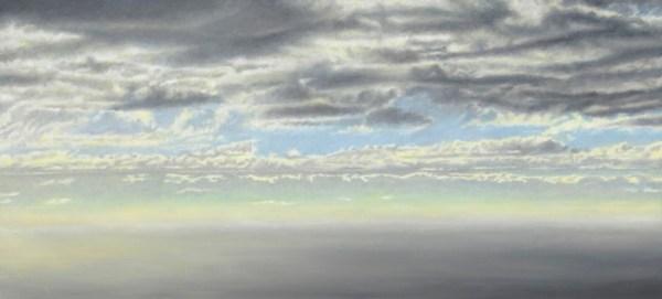 Gregory Pai 'Twilight at Holu'aloa'; Giclee on Canvas, framed; 75x15 image; 13.25x21.25 framed