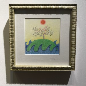 "'Plumeria' by Noelani Block Original Colored Pencil 7""x 7"" framed $260"