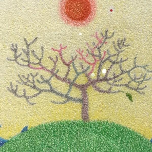 """Noelani Block 'Plumeria' Original Colored Pencil 7""""x 7"""" framed"""
