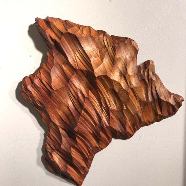 "Carved Koa Hawaiian Island Chain by Greg Eaves Approximately 30"" x 60"" (Representative) $525"