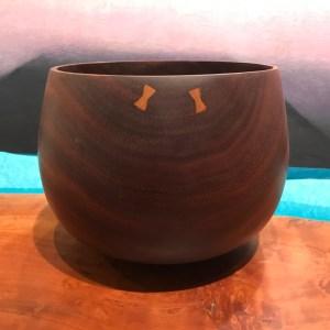 "Kamani 'Umeke with Pewas by Gordon Tang 6""H x 7.5""D $650"