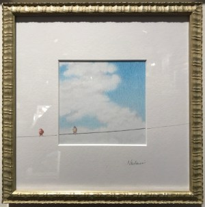 "'Palolo World View, House Finch' by Noelani Block Original Pencil 8""x 8"" framed $360"