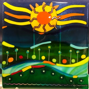 "'Sunshine, Lollipops, Rainbows' Fused Glass by Liz Train 12""x 12"" $450"