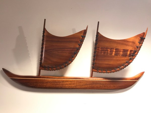 "Wall Mounted Koa Sailing Canoe by Greg Eaves 11.5""H x 24""L $500"