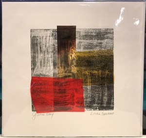 "'Game Day' Monoprint by Linda Spadaro 10""x 10"" matted $30"