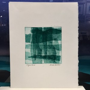 "'Aqua Grid' Monoprint by Linda Spadaro 14""x 11"" matted $80"