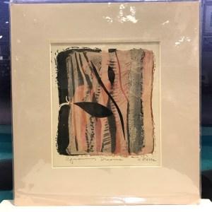 "'Aquarium Dreams' Original Monoprint by Anne Irons 13""x 12"" matted $50"