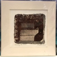 """'Coming Into View' Original Monoprint by Anne Irons 10""""x 10"""" matted $50"""