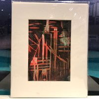 """'In the Wildwood' Original Monoprint by Anne Irons 10""""x 8"""" matted $125"""