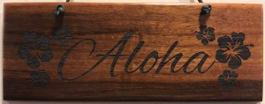 "'Aloha' Small Hanging Koa Plaque 2.75""x 7"" (representative) by Honolulu Woodworking Designs $24"